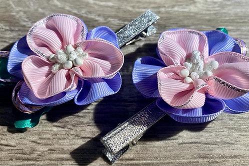Cornflower Blue and Pink Flower Set