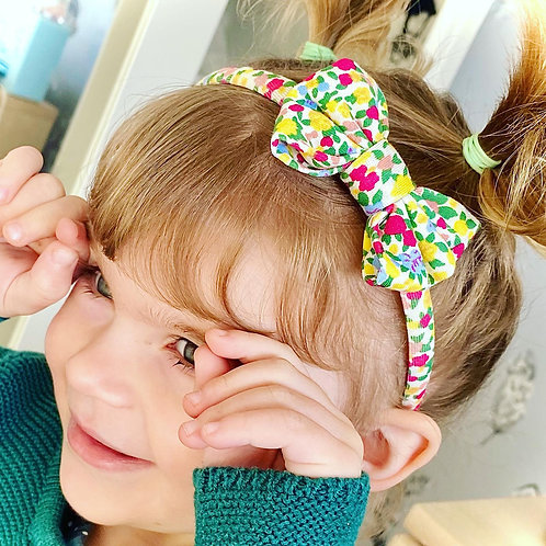 White Floral Classic Bow Headband