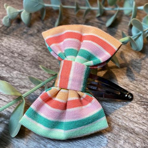 Green Rainbow Stripe Classic Bow Snap Clips
