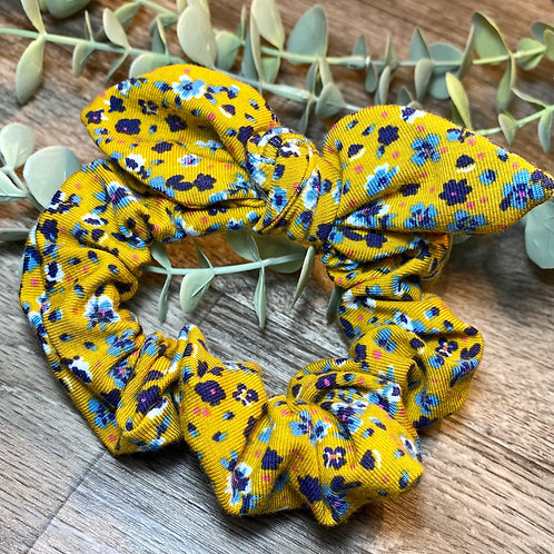 Mustard Floral Knot Bow Scrunchie