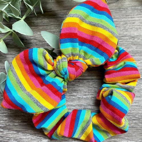 Bright Rainbow Stripe Knot Bow Scrunchie