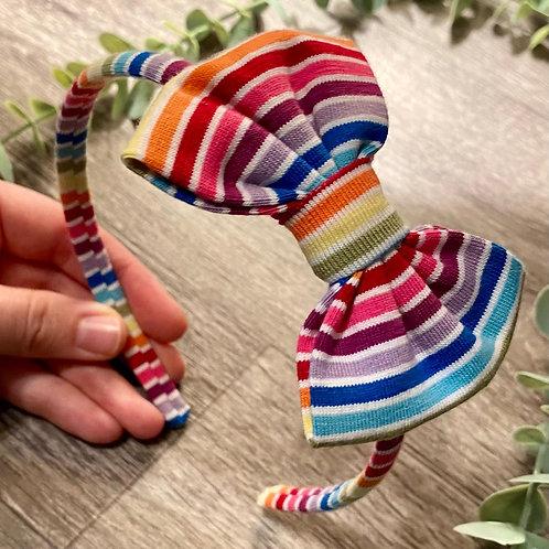 White Rainbow Stripe Classic Bow Headband