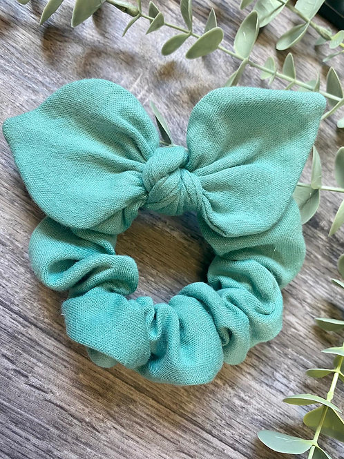 Oil Green Knot Bow Scrunchie