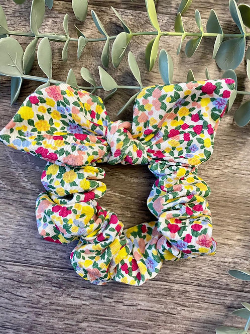 White Floral Knot Bow Scrunchie