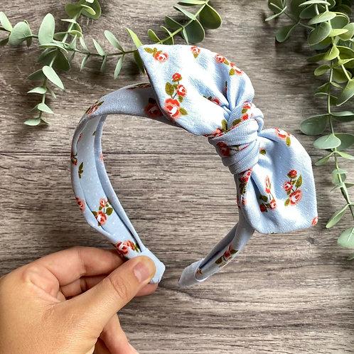 Blue Ditsy Rose Knot Bow Headband