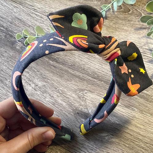 Navy Grey Unicorn Knot Bow Headband