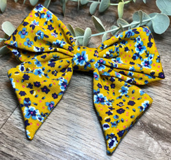 Mustard Floral Holly Bow
