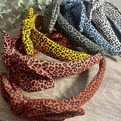 Knot Bow Headband Leopard Print