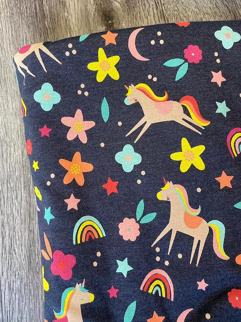 Navy Grey Unicorn Scrunchie