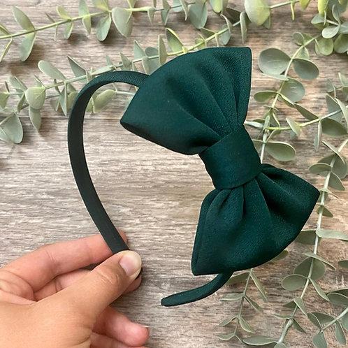 Bottle Green Classic Bow Headband