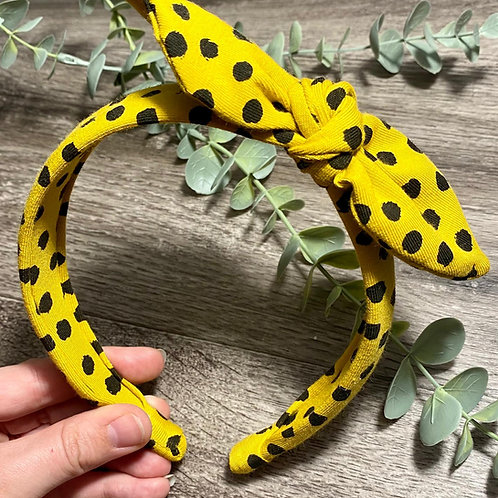 Mustard Flurry Spot Knot Bow Headband
