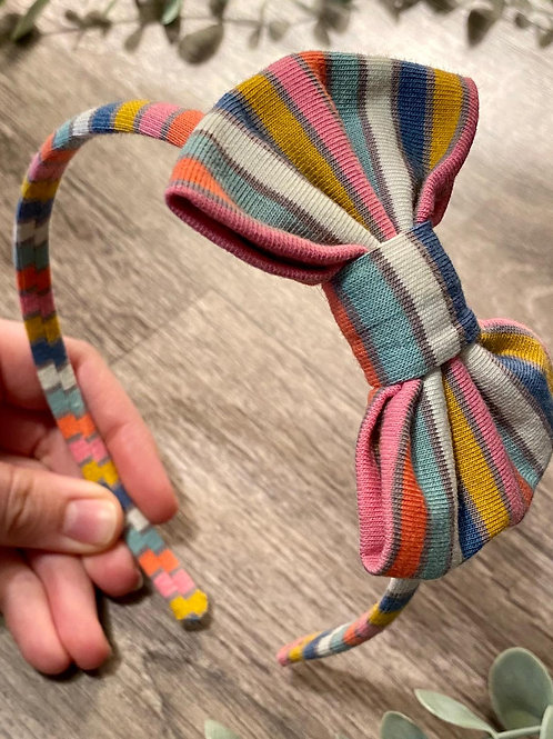 Blue Rainbow Stripe Classic Bow Headband