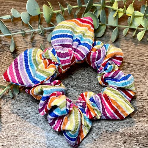White Rainbow Stripe Knot Bow Scrunchie