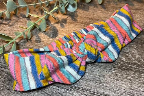 Blue Rainbow Stripe Knot Bow Elasticated Headband
