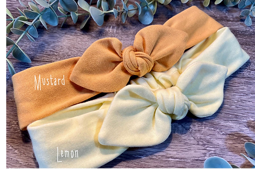 Mustard Knot Bow Elasticated Headband