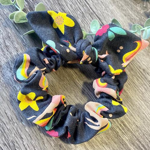Navy Grey Unicorn Knot Bow Scrunchie
