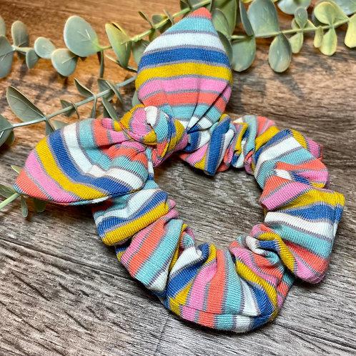 Blue Rainbow Stripe Knot Bow Scrunchie