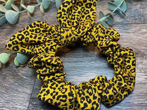 Mini Mustard Leopard Knot Bow Scrunchie