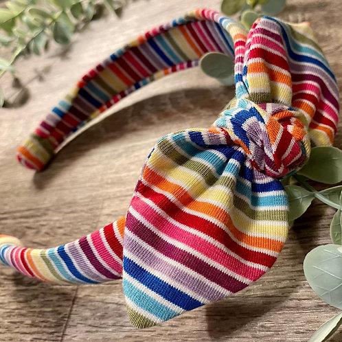 White Rainbow Stripe Knot Bow Headband