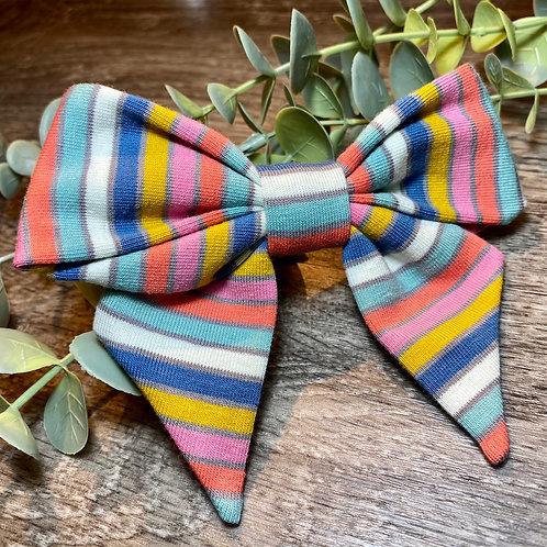 Blue Rainbow Stripe Holly Bow