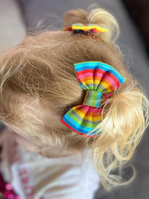 Bright Rainbow Stripe Classic Bow Prong Clip