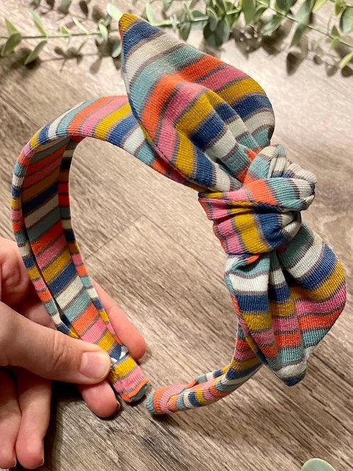 Blue Rainbow Stripe Knot Bow Headband