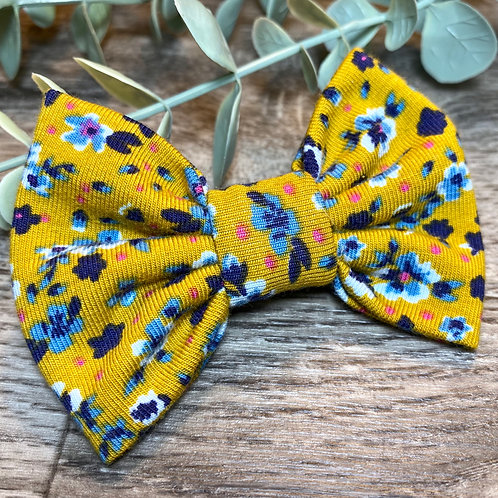 Mustard Floral Classic Bow Prong Clip