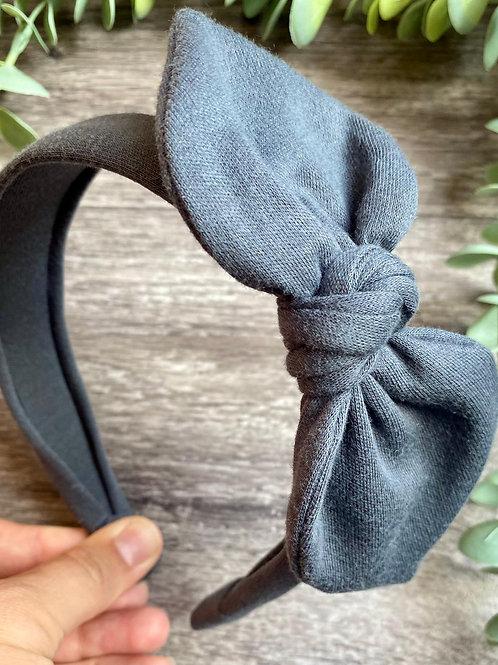Charcoal Knot Bow Headband