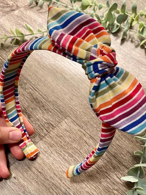 Knot Bow Headband Rainbow Stripe