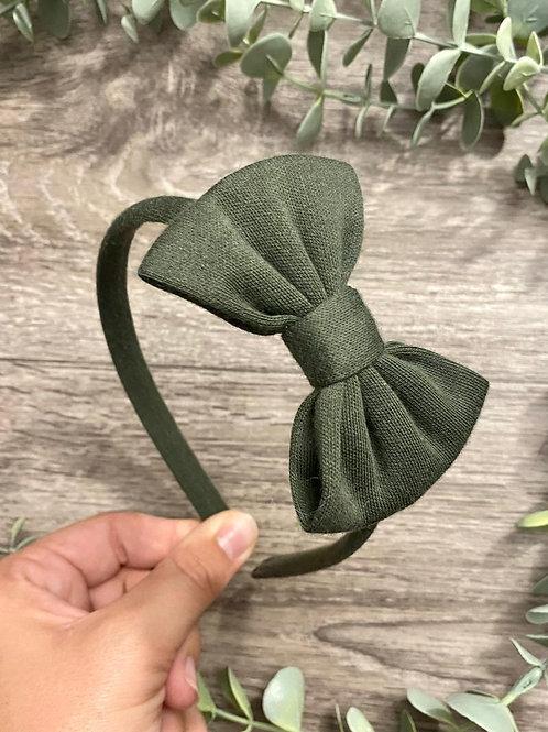 Khaki Classic Bow Headband