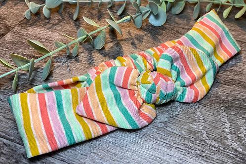 Green Rainbow Stripe Knot Bow Elasticated Headband