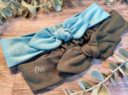 Khaki Knot Bow Elasticated Headband