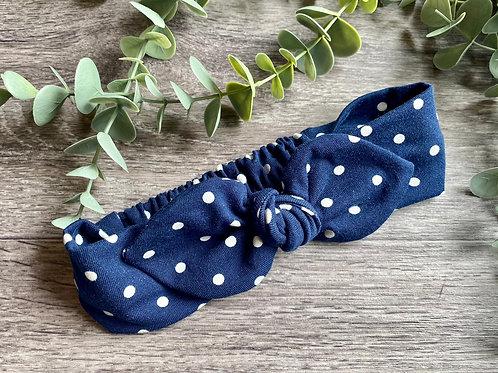 Navy Polka Dot Knot Bow Elasticated Headband