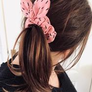 Pink Dash Knot Bow Scrunchie