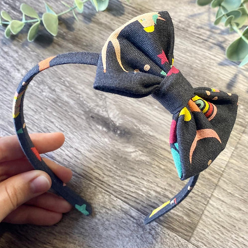 Navy Grey Unicorn Classic Bow Headband