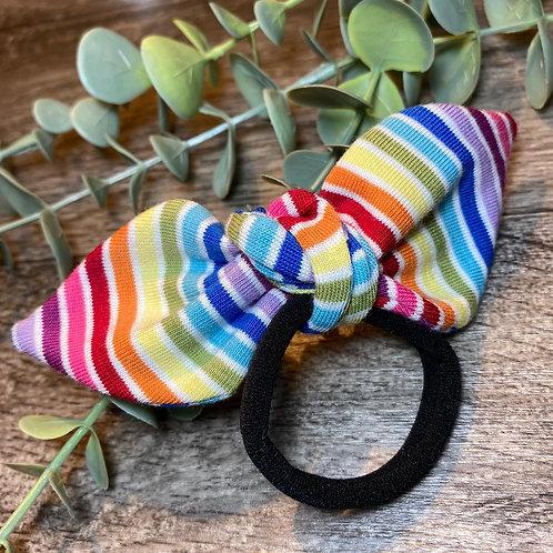 White Rainbow Stripe Knot Bow Bobble