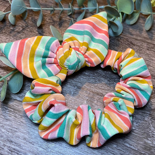 Green Rainbow Stripe Knot Bow Scrunchie