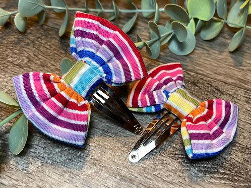 Classic Mini Bow Snap Clips Rainbow Stripe