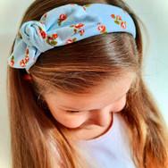 Blue Ditsy Rose Knot Bow Elasticated Headband