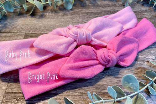 Baby Pink Knot Bow Elasticated Headband