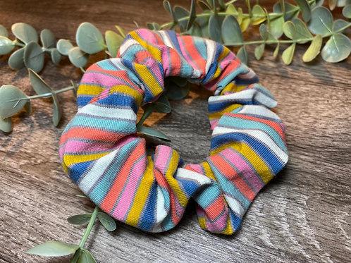 Blue Rainbow Stripe Scrunchie