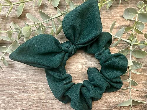 Bottle Green Knot Bow Scrunchie