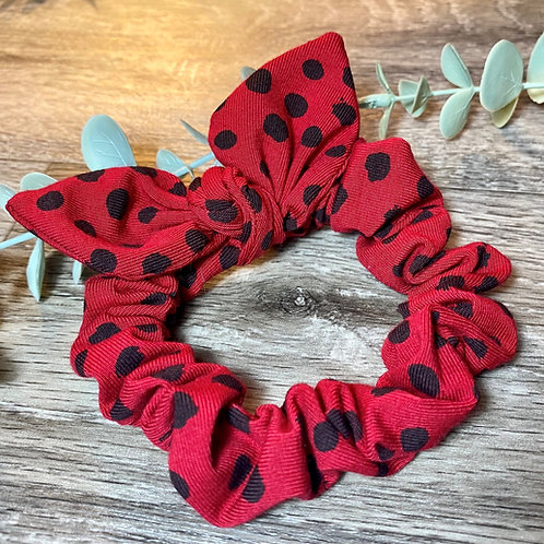 Red Flurry Spot Knot Bow Scrunchie