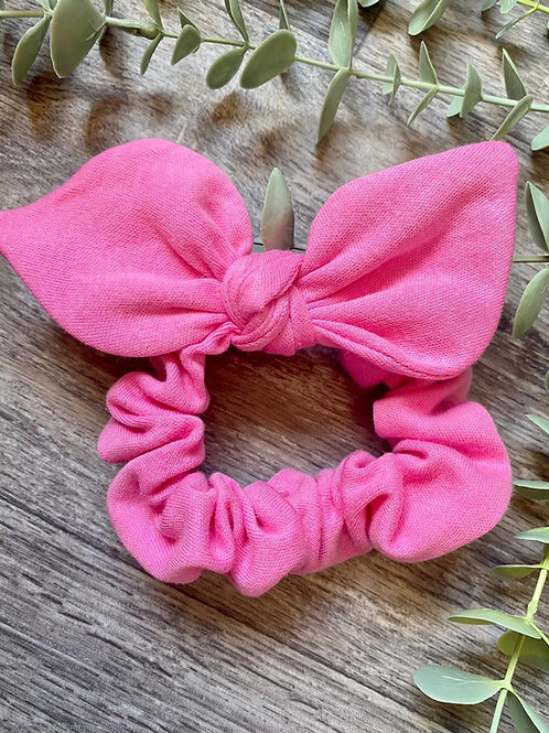Bright Pink Knot Bow Scrunchie