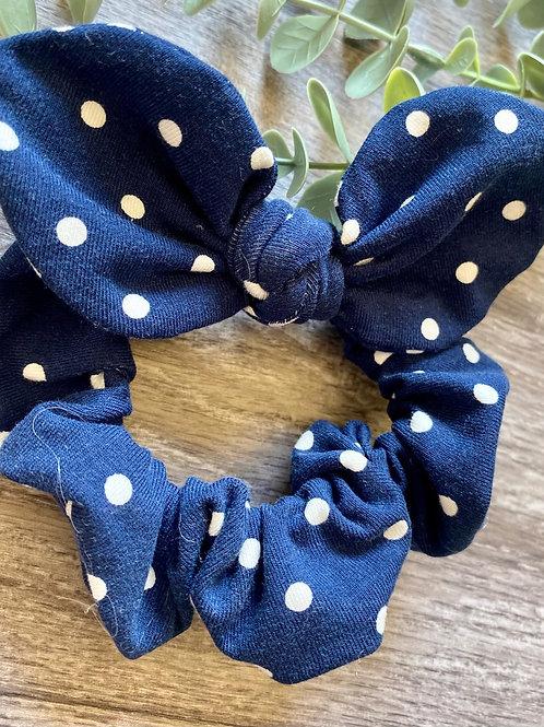 Navy Polka Dot Knot Bow Scrunchie