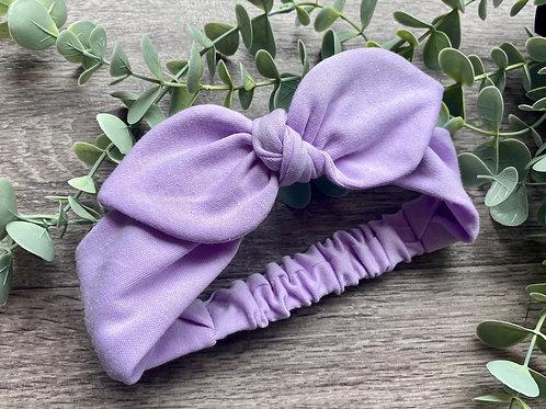 Pale Lilac Knot Bow Elasticated Headband