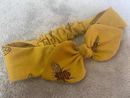 Mustard Bee Knot Bow Elasticated Headband