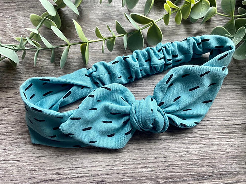 Aqua Blue Dash Knot Bow Elasticated Headband
