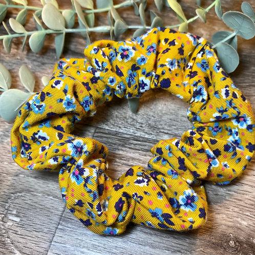 Mustard Floral Scrunchie