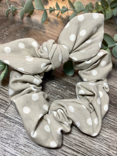 Taupe Polka Dot Knot Bow Scrunchie
